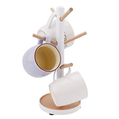 Porta Tazza Albero in Legno, Albero Porta Tazza Portabicchieri da Tavolo Organizer Portabicchieri in Legno Espositore Forniture da Cucina per tè Tazza da caffè Mug Ganci (6 Ganci) White