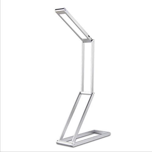 Lampe de Bureau LED Eye Protection Lampe de Table Touch Dimmable Pliable USB Rechargeable Lecture Bureau Lampe Bureau Ménage en Métal Table Light 3W Lampe de Table (Color : Silver)