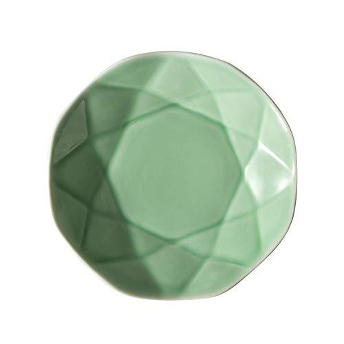 H/A Vajilla de cerámica esmaltada Creativa Personalizada Restaurante destacado del Hotel en casa Plato de Sopa Verde con Forma de Hoja de Loto TOM-EU (Color : Bean Green, Size : 8.5 Inch)