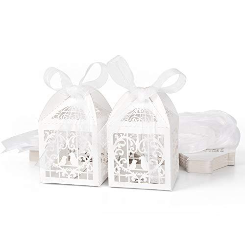 ewtshop 50 x Geschenkbox, Hochzeitsgeschenkbox, Gastgeschenk, Tischdeko mit Schleifen