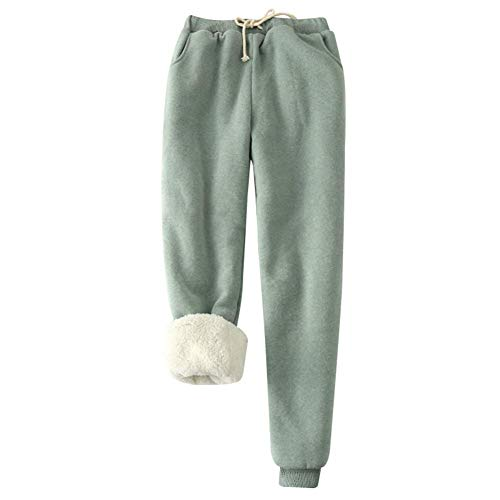 BOLANA Donna Pile Termico Pantaloni Tuta Inverno Coulisse Spesso Corsa Pantaloni Caldo Allenamento Pantaloni da Jogging - Verde, Large