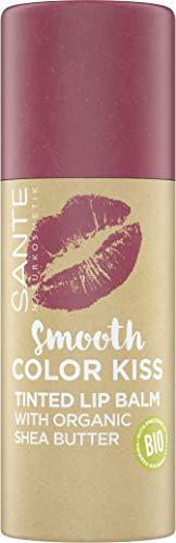 SANTE Naturkosmetik Smooth Color Kiss 02 Soft Red, Getönter Lippenbalsam in Rot, Mit Bio-Sheabutter, Spendet Feuchtigkeit, Zarter fruchtiger Duft, 8.5 g