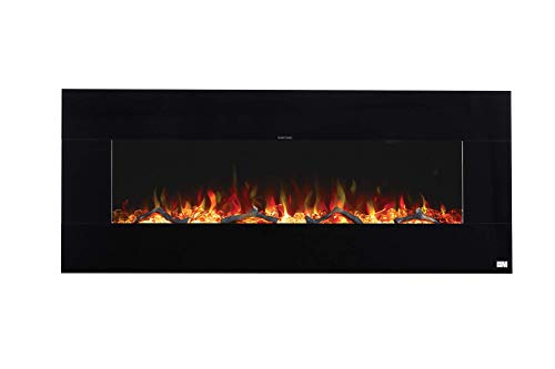 BurnBrite Electric 50 Inch Fireplace Recessed and Wall Mount Crystals and Driftwood