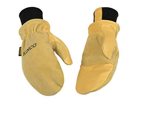 Kinco Lined Heavy Duty Premium Grain & Suede Pigskin Mitt with Knit Wrist Glove