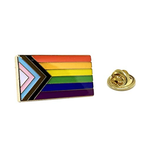 Progress Pride Flag LGBTQ Lapel Pin - LGBT Ally Badge Equality Gay Lesbian Bisexual Transgender Supports Rainbow Brooch