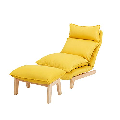 LC-SHBAGS - Sillon reclinable para salon, dormitorio, balcon y ocio nordico, simple y plegable, 14 velocidades, color amarillo