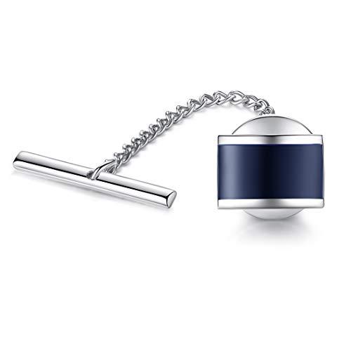 HONEY BEAR Alfiler de corbata con cadena,Chincheta Acero inoxidable para corbata accesorio de regalo de boda (Azul marino)