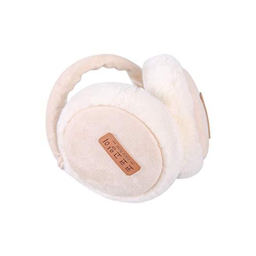 TENDYCOCO Unisex Folding Earmuff Winter Warm Plush Ear Warmer Black Ear Muff for Women Men-Beige White