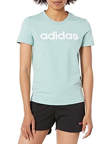 adidas Womens Essentials Slim T-Shirt Hazy Green/White X-Small