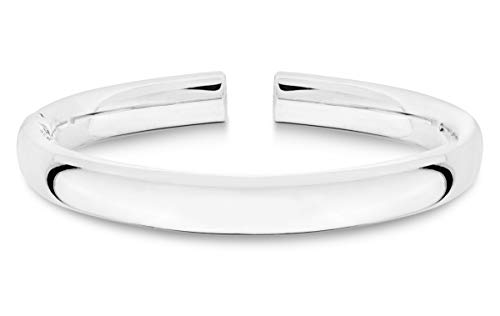 Miabella 925 Sterling Silver Italian Handmade 9mm Open Cuff Hinged Bangle Bracelet for Women 7 Inch Made in Italy
