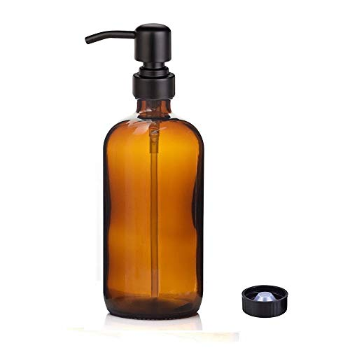Kaiking 16 Unzen Braunglas Boston Rundflaschen Dispenser-Flüssig Pint-Glas Seifenspender mit Matte Black Edelstahl Rostende Pumpe für Ätherische Öle, Lotionen Waschmittel (1)