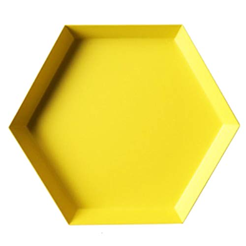 Flameer Stainless Steel Plate Geometric Series Diamond Shaped Tray Home Modern Decor - Yellow M