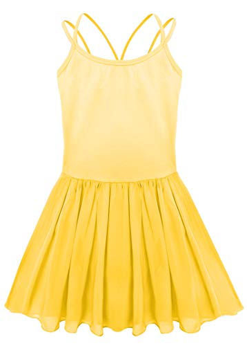 AM CLOTHES Girls Leotard for Ballet Dance Gymnastics Camisole Skirted Dress Yellow 16:12-13 Years