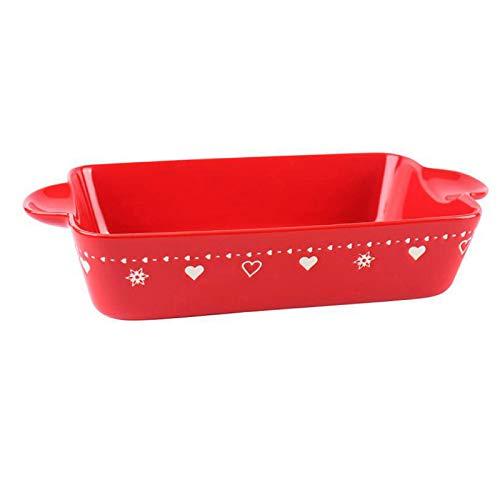 KVV Baking Dish Rectangle Backware Ceramics Pans, Ovenware Casserole Pan, Christmas Party Present,Snowflake Printing 12.6 Inches Baking pan (Red Rectangle Baking dish)