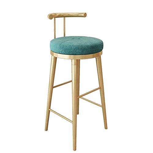 Taburete de Bar Alto Silla de la Barra - Estilo Moderno y Minimalista con Respaldo, Cojín cómodo, Conveniente for el Restaurante Cafetería, 98 × 42 × 42cm (Color : Green)