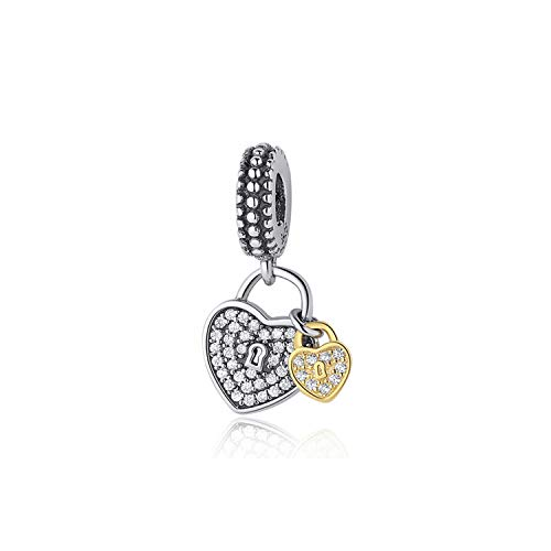 CNSP Original 925 Sterling Silver Charm Bead Bee Love Charms Safety Chain Clip Shine Gold Fit Bracelets Women DIY Jewelry Love Locks