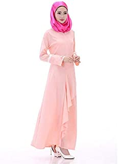 Fashion Long Sleeved Dress For The Muslim National Costume Robes Casual Clothes Abaya Fuz8 Pink