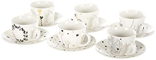 Tognana IR685345563 Confezione 6 Tazze caffè con Piatto, New Bone China