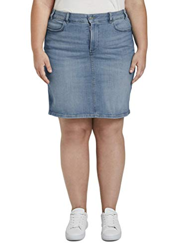 TOM TAILOR MY TRUE ME Damen Röcke Jeansrock im Washed-Look Destroyed Light Stone Blue Den,46