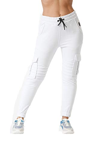 Damen Jogging Hose Jogger Streetwear Sporthose Modell 1214 Weiss M