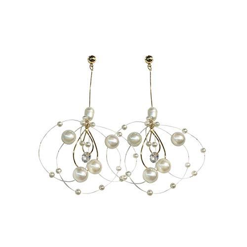 XIANRUI Zilveren oorbellen met naalden en parels, eenvoudige temperament mode oorbellen