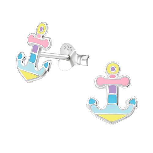 Laimons Pendientes para mujer, joya para mujer, diseño de ancla, 10 mm, en diseño marítimo, colores pastel, amarillo, azul, rosa y verde, plata de ley 925