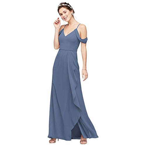 Off-The-Shoulder Bridesmaid Dress with Cascade Style F20010, Steel Blue, 14