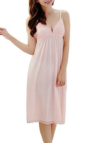 BININBOX Damen Nachthemd mit Spagetti-Trägern Sexy Spitzen Nachtwäsche Lace Negligee (Rosa)