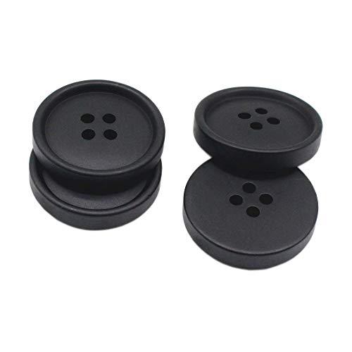 YaHoGa 50 Stück 25mm Schwarze Kunststoff Knöpfe Resin Knöpfe für anzüge jacken mäntel uniform (Schwarze)