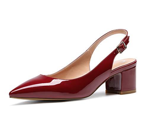 CASTAMERE Scarpe Donna Eleganti con Tacco Medio con Cinturino Dietro la Caviglia Tacco a Blocco Tacco Alto 5 CM Pelle Verniciata Borgogna Scarpe EU 36.5