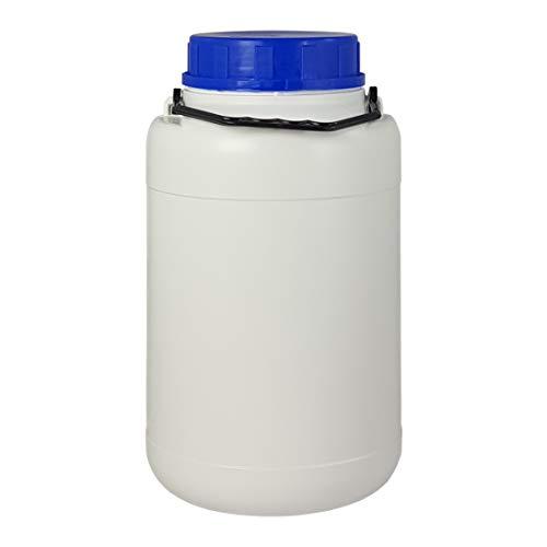 Bote 5 litros boca ancha con tapa y asa. Bidón de plástico. Blanco. 1 Unidad.
