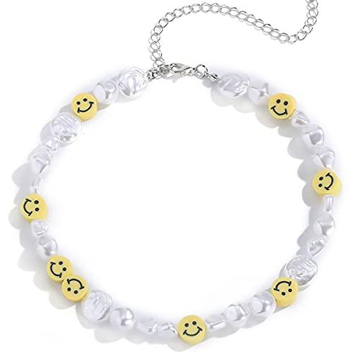 Collar de cara sonriente, collar y2k de verano de perlas irregulares bohemias, gargantilla de joyería de moda y2k para niñas adolescentes y mujeres