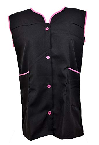 Ozabi Arbeits-Kittel für Damen, mit Knopfleiste, ohne Ärmel, mehrfarbig Gr. M, Bluse in Schwarz und Rosa