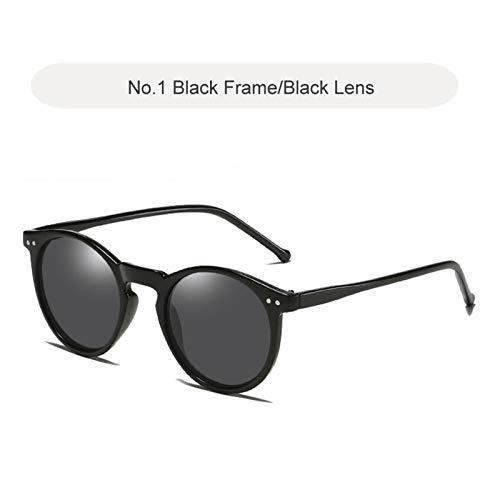 JCNVT Diseño Moderno Gafas de Sol polarizadas Hombres Mujeres Diseñador de Marca Retro Redondo Gafas de Sol Vintage Hombre Mujer Gogglesuv400 para Conducir Viajes (Lenses Color : C1 Black Black)