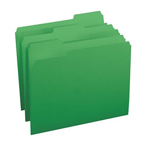 Smead Colored File Folder, 1/3-Cut Tab, Letter Size, Green, 100 per Box (12143)