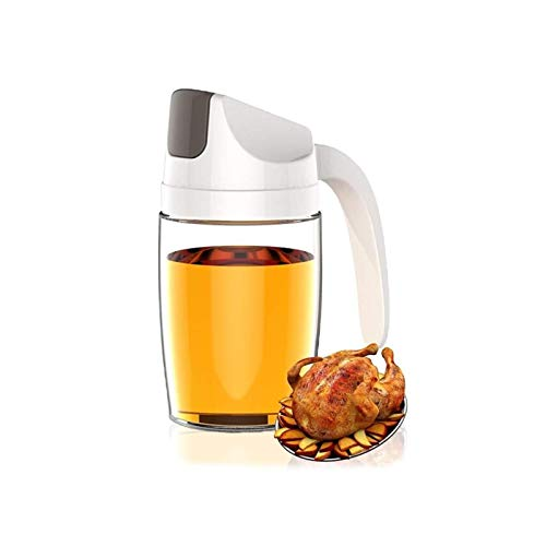 Botella Dispensadora De Aceite De Oliva para Cocinar, Vinagre De Vidrio Abatible Automático, Decantador De Condimentos De 10 Oz con Tapa Automática, Mango Y Tapón Antideslizantes