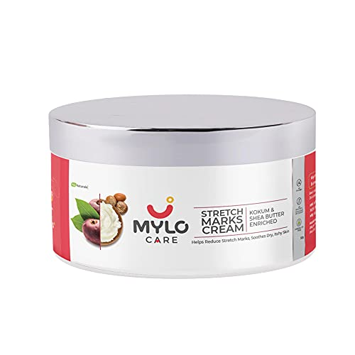 Mylo Care Stretch Marks Cream for Pregnancy with the Goodness of Shea Butter, Saffron, Kokum Butter and Aloe Vera, Australia Certified Toxin Free, No Mineral Oils-50ml (50ml)