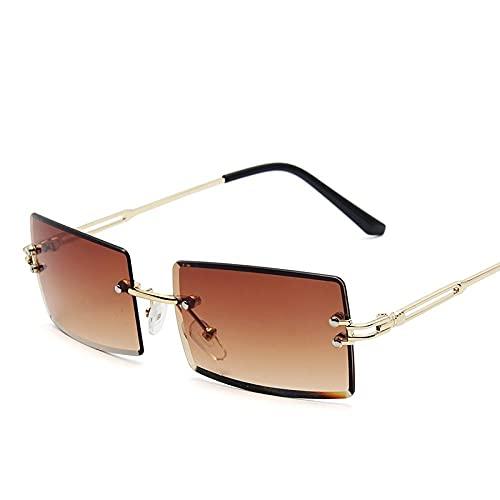 QWKLNRA Gafas De Sol para Hombre Marco Dorado Lente Marrón Oscuro Gafas De Sol Deportivas Polarizadas Moda Retro para Mujer Gafas De Sol con Gradiente Sin Montura Corte contra Rayos UV Gafas Sin Mo