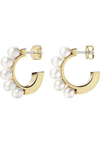 Calvin Klein Damen-Creolen Circling Edelstahl, Perle One Size Gold 32011452