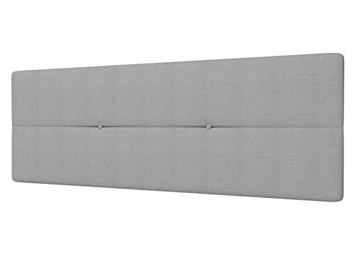LA WEB DEL COLCHON - Cabecero Tapizado Génova para Cama de 135 (145 x 55 cms) Gris Claro Textil Suave | Cama Juvenil | Cama Matrimonio | Cabezal Cama | Cabeceros tapizados Dormitorio