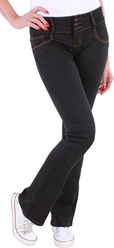 Black Denim BD Damen Boot-Cut Jeans Schlaghosen Ausgestellt schwarz Damenjeans (38/M)