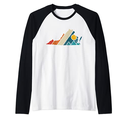 Virginia Vintage State Map Mountains Hiking Pride Gift Raglan Baseball Tee