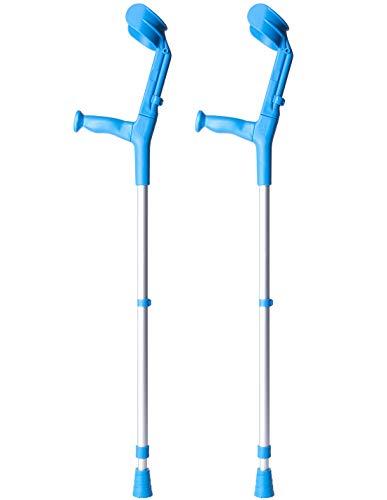 Queraltó Muletas 2 uds azules | Aluminio con doble regulación | Se regula en la caña y en el codo | Pack ahorro