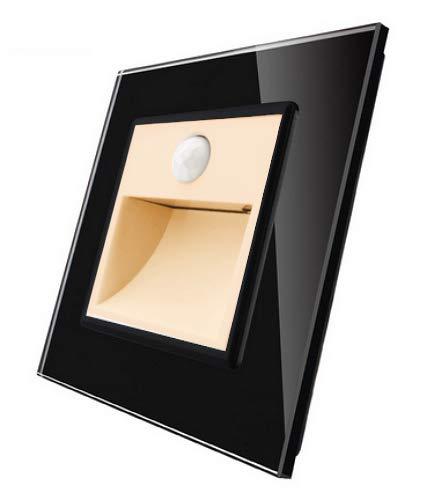 LIVOLO Treppenbeleuchtung Bewegunsmelder Glasrahmen Blende Glas Treppe Treppenhaus Flur Diele Badezimmer VL-C7-TBW-13 Gold (Treppenbeleuchtung Schwarz VL-C7-TBW-13-SR-12-A)