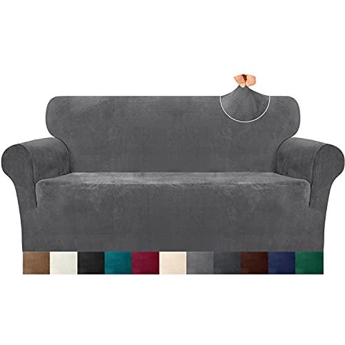 Luxurlife Dicke Samt Sofabezug 1 Stück High Elastischer Antirutsch Couchbezug 3 Sitzer Möbelschutz mit elastischem Boden für Wohnzimmer(3 Sitzer,Hellgrau)