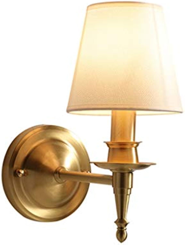 XU FENG Amerikanische Wandleuchte Voller Kupfer Schlafzimmer Nachttischlampe Home Staircase Moderne Minimalistische Korridor Wohnzimmer Lampe