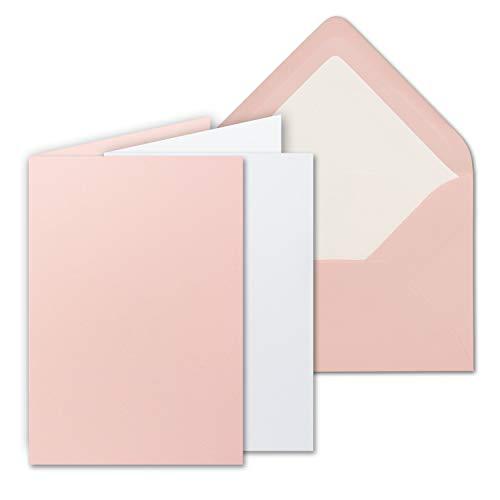 25 Sets - großes Kartenpaket, Rosa (Rosa), matt, mit 25 Faltkarten, passenden weißen Einlegeblättern & 25 gefütterten Umschlägen - DIN B6-12 x 17 cm - 120 x 170 mm