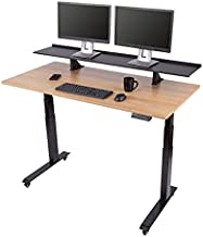 Stand Up Desk Store Split Top Electric Adjustable Height Standing Desk with Monitor Shelf (Black Frame/Natural Walnut Top, 60