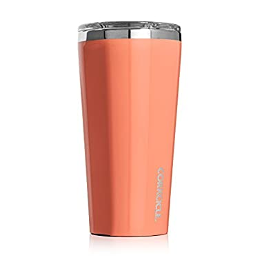 Corkcicle Tumbler-Classic Collection-Triple Insulated Stainless Steel Travel Mug, 16 oz, Gloss Peach Echo