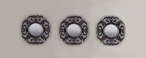 My Home Juego de 3 espejos de pared, diseño antiguo.